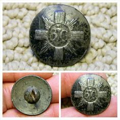 Rare Revolutionary War 3rd Foot Guards or Scots Guards coat button. The front has much original soldier applied black enamel and the reverse has a little here and there. The front features a rayed circle with a thistle in the center flanked by a 3 and a G. This button is B3G.d. in Troiani's c.2001 Military Buttons of the American Revolution book. It measures just under 24 mm's in diameter and the iron shank is present and solid with just some light rust and a slight tilt. The reverse has…