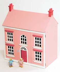 Wooden Dolls House Pink 3 Storey