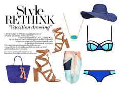 """""""Vacation Chill"""" by xvictoriaxfrenchiex on Polyvore featuring Kendra Scott, Gianvito Rossi, Sensi Studio, Summer, swimsuit and navyblue"""