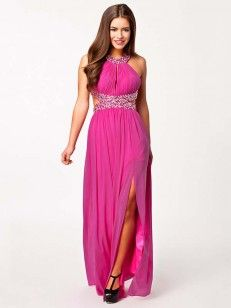 Beading Ermeløs A-line/Princess Floor-length Chiffon Dress
