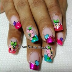 NAILS Cute Nail Art, Cute Nails, Manicure Y Pedicure, French Tip Nails, Flower Nails, Nail Designs, Nail Polish, Mary, Beauty