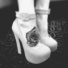 Ankle strap and buckle platforms with a rose tattoo on arch of foot - oh yep. Pretty pretty pretty...
