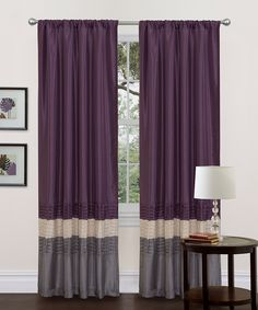 Gray & Purple Mia Curtain Panel - Set of Two    Wants these for my next bedroom theme.  Grey-black-dark purple