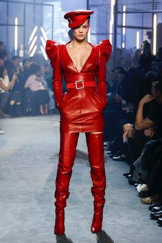Red Leather Uniform Fashion Style by Alexandre Vauthier Alexandre Vauthier, Fashion Week, High Fashion, Fashion Show, Fashion Looks, Fashion Design, Style Couture, Couture Fashion, Runway Fashion