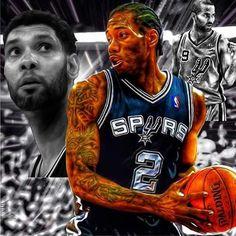 San Antonio Spurs Tim Duncan, Kawhi Leonard & Tony Parker.