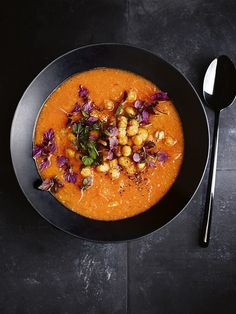 sweet potato and harissa soup with tahini and crispy chickpeas.