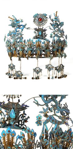 China | Kingfisher feather headdress; semi-circular ornament centered with an agate boss set in a radiating border above a pagoda issuing a dragon's head, flanked by two large sinuous dragons lunging at the central roundel, the main body containing two spotted deer and nine downward facing phoenix suspending baskets with flowers and hanging bells. | 3'750$ ~ sold (June '13)