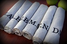 Monogrammed Typography Linen Dinner Napkins in PEBBLE Set of 6. $68.00, via Etsy.