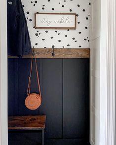 Entryway Closet, Entryway Decor, Open Entryway, Front Hall Closet, Foyer, Black Accent Walls, Black Walls, Diy Wallpaper, Closet Wallpaper