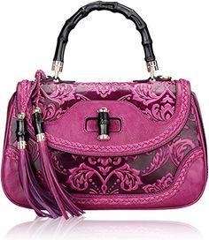 Pijushi 6029 Classic Ladies Handmade Luxury Leather Satchel Bag Women's Top-handle Handbags (Floral Purple)