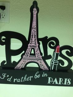 """I'd Rather Be In Paris"" Picture Stand Photo Clip! New! Wood! Fashion! Adorable!"