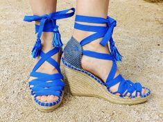 da5001105 Blue Hight Wedge Sandals Spanish espadrilles Boho style Alpargatas made in  Spain. Alpargatas CuñaSandalias ...