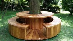 Beautiful table and bench tree surround! Backyard Seating, Backyard Patio Designs, Backyard Projects, Front Yard Landscaping, Patio Ideas, Landscaping Around Trees, Outdoor Seating, Backyard Ideas, Garden Ideas