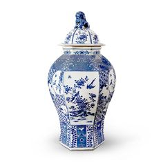 Palace 6-Sided Temple Jar, Blue & White - Bungalow 5