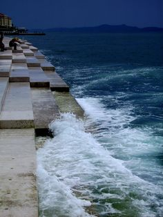 the Water-Organ in Zadar/ Croatia with an unbelieveable sound  - the stairs has pipe-holes through, so when the waves come and press the air out - it sounds in a deep harmony.