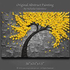 Large 36x24x1.5 Original Blossom Tree Painting  by ShopModernArt