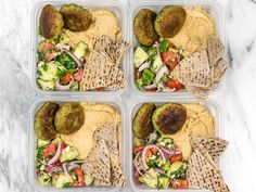 This Falafel and Hummus Box meal prep is packed with fresh herbs and spices, leaves very little leftover ingredients, and makes a great cold lunch!