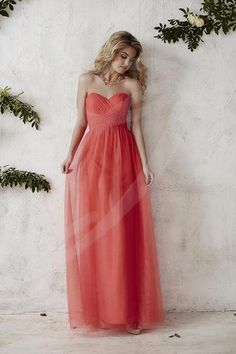 Jacquelin Bridals Canada - 22689 - Bridesmaids - Putting a new spin on the popular past, this style gives you everything you loved about BM39 but with ample amounts of tulle! Pictured in: Coral