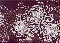japanese kimono fabric - white chrysanthemums , butterflies & small flowers on a purple plum background