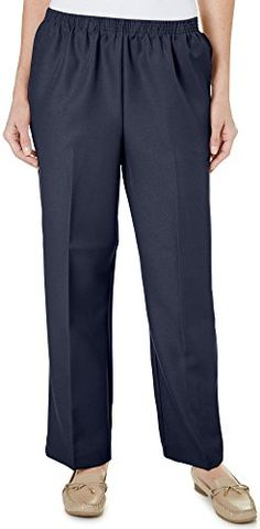 Alfred Dunner Polyester Pull-On Pants - Short. Comfortable, pull-on pants. Short length. Full elastic waistband. 2 side open pocketsÂ. Permanent creaseÂ.