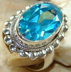 | Handmade Blue Topaz Sterling silver ring India |