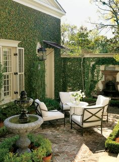 Charming patio, but maybe too twee? / Outdoor Courtyard The patio was inspired by the intimate, romantic courtyards in the French Quarter. Outdoor Rooms, Outdoor Gardens, Outdoor Living, Outdoor Decor, Outdoor Patios, Outdoor Seating, Outdoor Privacy, Outdoor Curtains, Small Gardens