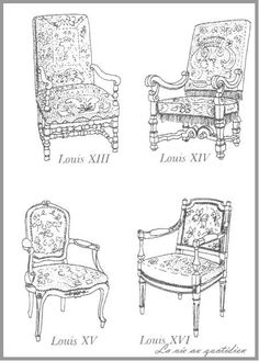 I remember being confused by all the different Louis chairs in my period style class. This is good to have. French Furniture, Classic Furniture, Furniture Styles, Antique Furniture, Furniture Design, Drawing Furniture, Georgian Furniture, Interior Design History, French Chairs