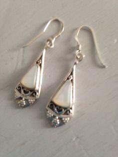 Mother of Pearl and Silver drop earrings by juliesringsandthings