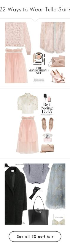 """22 Ways to Wear Tulle Skirts"" by polyvore-editorial ❤ liked on Polyvore featuring waystowear, tulleskirts, Sans Souci, See by Chloé, Mother of Pearl, Reem Acra, LC Lauren Conrad, Valentino, H&M and Versace"