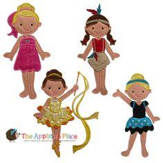 Recital Dancers set of 4-dance, indian, native american, dancer, applique, set, modern, lyrical, girl