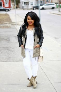 H&M vest / Dollhouse leather jacket / Target tee / Forever 21 jeans / Boots and bag from local boutique     A casual look forFr...