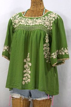 "Mexican Peasant Blouse Top Hand Embroidered: ""La Marina"" Fern Green + Cream Embroidery ~ Size SMALL"