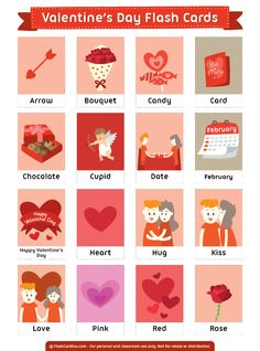 Free printable Valentine's Day flash cards. Download them in PDF format at http://flashcardfox.com/download/valentines-day-flash-cards/