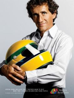 Alain Prost, a lovely advertisement for the Ayrton Senna Institute. Alain Prost, Formula 1, Ayrton Senna Helmet, Aryton Senna, Jochen Rindt, F1 Drivers, Ex Machina, F1 Racing, Racing Helmets