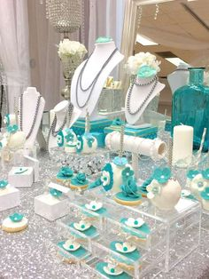 Lovely desserts at a Tiffany & Co. See more party ideas at C. Lovely desserts a Tiffany Co Party Ideas, Breakfast At Tiffanys Party Ideas, Tiffany Blue Party, Tiffany Birthday Party, Tiffany Theme, Tiffany Wedding, 50th Birthday Party, Birthday Ideas, Tiffany Sweet 16