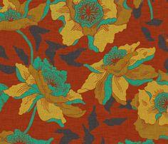 vintage_poppy_sienna fabric by holli_zollinger on Spoonflower - custom fabric