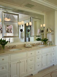 MasterBath Cabinets Cream | Beveled Mirror, Traditional, bathroom, Toth Construction