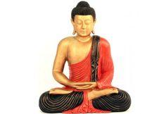 Statue de Bouddha assis 60 cm  - Rouge