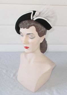 1950s Vintage Black and White Hat with Feather by MyVintageHatShop