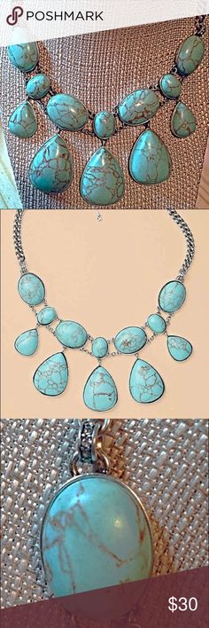 Fossil Silver Oval & Teardrop Turquoise Necklace Collectible Fossill Silver-Tone Design Tiers of Oval & Teardrop-Shaped Turquoise. This is a Beautiful Statement Piece.  Nice Weight, Turquoise is Pretty Baby Blue the Color of Sleeping Beauty Turquoise. GORGEOUS. Fossil Jewelry Necklaces