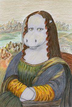 Mona Hippo Drawing by Deborah Dallinga