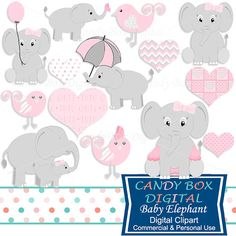 Baby Girl Elephant Clipart Baby Girl Clip Art by CandyBoxDigital