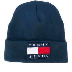 03c5298cddf Tommy Jeans logo patch beanie hat ( 44) ❤ liked on Polyvore featuring  accessories