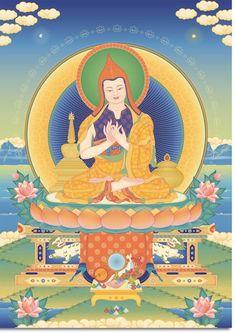"""Atisha - Grand maître et érudit bouddhiste indien (982-1054). Abbé du grand monastère bouddhiste de Vikramashila à un moment où le bouddhisme mahayana était florissant en Inde, Atisha a ensuite été invité au Tibet où il a réintroduit un bouddhisme pur. Il est l'auteur du premier texte sur les étapes de la voie, """"La Lampe pour la voie de l'illumination"""", et le fondateur de la tradition kadampa."""