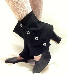Keep your pants clean and dry from the rainy weather or just add a dash of Victorian style to your wardrobe with these lovely black spats with