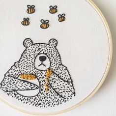 I sent this bee-utiful little bear off to its new home. And with that, all my bears have sold. The next restock of little bears will be at the end of May. Have a very happy Friday, everyone! Hand Embroidery Stitches, Modern Embroidery, Embroidery Hoop Art, Cross Stitch Embroidery, Embroidery Designs, Learning To Embroider, Fabric Art, Stitch Patterns, Needlework