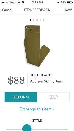 February 2017 Stitch fix  Just Black Skinny Jean