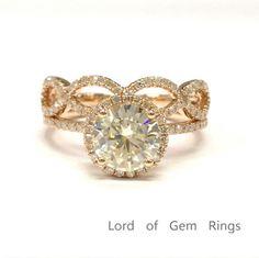 Round Moissanite Engagement Ring Sets Pave Diamond Wedding 14K Rose Gold 7mm