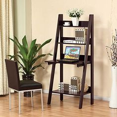 Furnishing Your Home Office: Harlan Style Leaning Ladder Bookcase with Desk