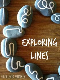 Exploring lines: using hand drawn lines on rocks for play. Challenging pre-writers to distinguish between straight and curved lines to help build their understanding of shape and help establish correct letter and number formation later. Visit http://youclevermonkey.com for more.